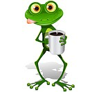 illustration, green frog with cup hot coffee