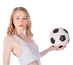 beautiful woman with soccer balls