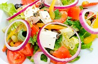 greek salad horiatiki _ fresh vegetables with feta cheese