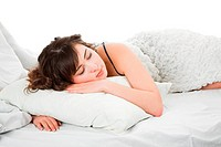 young beauty woman sleeping in the bed