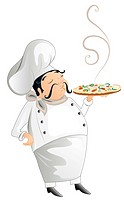 chef with pizza illustration isolated on white background