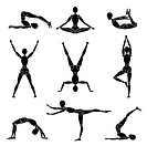 vector model man silhouette yoga gymnastics recreation