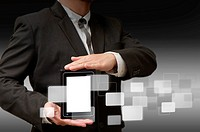 business man holds touch screen mobile and virtual background