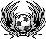 Graphic soccer ball image template with wings