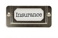 Insurance File Drawer Label Isolated on a White Background.