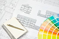 Blueprint of architectural drawing, notepad and color picker