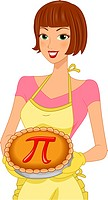 Illustration of a Woman Celebrating Pi Day _ eps8