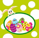 Springtime Easter holiday wallpaper colorful eggs with rabbit