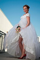 Pretty attractive blond twenties american caucasian bride woman