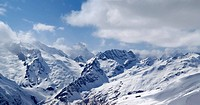 Mountains panorama. Caucasus, Dombay. View from the ski slope.
