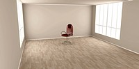 3D rendered Illustration. Office chair in a empty room.