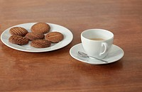 Homemade cookies on a plate with coffee