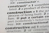 Close up of the dictionary definition for construction workers