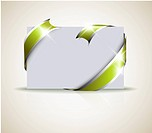 Wedding card _ green ribbon around blank white paper, where you should write your text