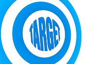 one target with the center made with the word: target 3d render