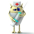3d character puppet doctor is holding syringe
