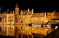 Bruges canal at night, Belgium. Horizontal shot