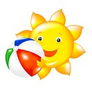 Happy Sun With Beach Ball, Vector Illustration Gradient mesh