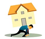 Illustrative representation of a man overburdened with housing loan