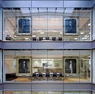 16 PALACE STREET HEAD ON VIEW OF ATRIUM WITH PAINTING OF THE FOUR FOUNDING FATHERS OF PANDO AND MEETING ROOMS