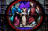 Holy Family stained glass in Sainte Clotilde church, Paris, France, Europe