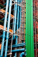 The building of Pompidou center in Paris, France _ Ventilation pipes