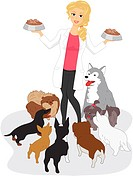 Illustration of a Vet Feeding Dogs _ eps8