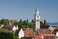 Historic town centre of Ueberlingen with St. Nikolaus Minster, Lake Constance district, Baden-Wuerttemberg, Germany, Europe