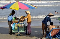 Vietnam, Ba Ria province, Vung Tau, seafood seller on the beach