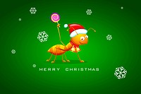 illustration of ant with santa cap on christmas background