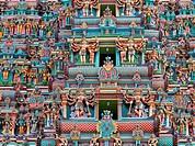 Sculptures on Hindu temple gopura tower. Menakshi Temple, Madurai, Tamil Nadu, India