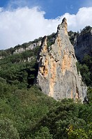 Montrebei Spire rock in Alsamora, Lerida, Catalonia, Spain