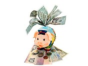 Overstuffed funny piggy bank with dollar banknotes.
