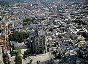 Aerial view of Amiens with Notre Dame cathedral (UNESCO World Heritage List, 1981) - Picardy, France