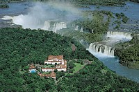 Aerial view of Iguacu or Iguazu waterfalls and Cataratas Hotel, Iguazu National Park (UNESCO World Heritage List, 1986) - Brazil, Argentina