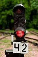 railway signal on the red light