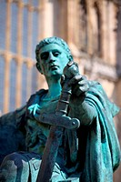 A bronze statue of the Roman emperor Constantine outside York Minster in England