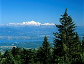 Mont Blanc range viewed from Col de la Faucille, near Gex, Rhone Alpes, France, Europe