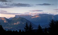 Sunset over mountains above Lake Annecy, Lake Annecy, Rhone Alpes, France, Europe