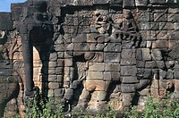 Cambodia - Angkor Archaeological Center (World Heritage Site by UNESCO, 1992). Terrace of the Elephants, relief.