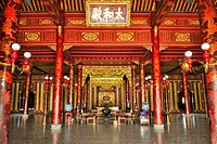 Throne room Thai Hoa palace, Hoang Thanh Imperial Palace, Forbidden City, Hue, UNESCO World Heritage Site, Vietnam, Asia