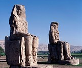 Egypt - Ancient Thebes (UNESCO World Heritage List, 1979). Statues of Amenhotep III 'Colossi' of Memnon