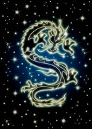 Zodiac Chinese Dragon Flying in the Celestial Starry Night Sky Illustration