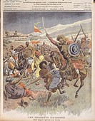 Riots in Ethiopia, Raid carried out by Abyssinian chief, March 1908, illustration