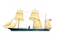 USA, Confederate Navy cruiser CSS Alabama, 1862, illustration