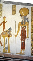 Egypt, Thebes, Luxor, Valley of the Kings, Tomb of Prince Mentuherkhepeshef, mural painting of Cat_head goddess Bastet, 20th dynasty