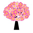 Spring Cherry Blossom Flowers Blooming on Tree Illustration Isolated on White Background