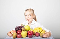 blonde girl with fruits
