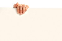 Advertising: hand holding blank poster