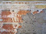 Egypt, Thebes, Luxor, Sheikh ´Abd al_Qurna, Mural paintings showing warriors in tomb of army general Tjenuny